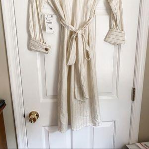 Zara Dresses - NWT Zara Pinstripe Linen Midi Dress
